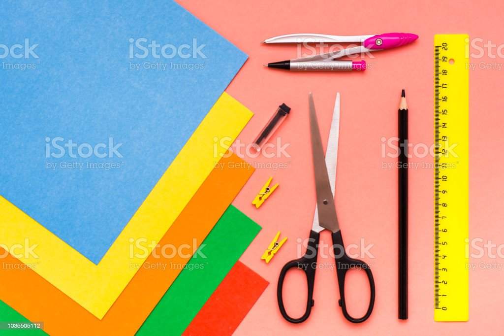 Items For Creativity Sheets Of Colored Cardboard Scissors Compasses ...