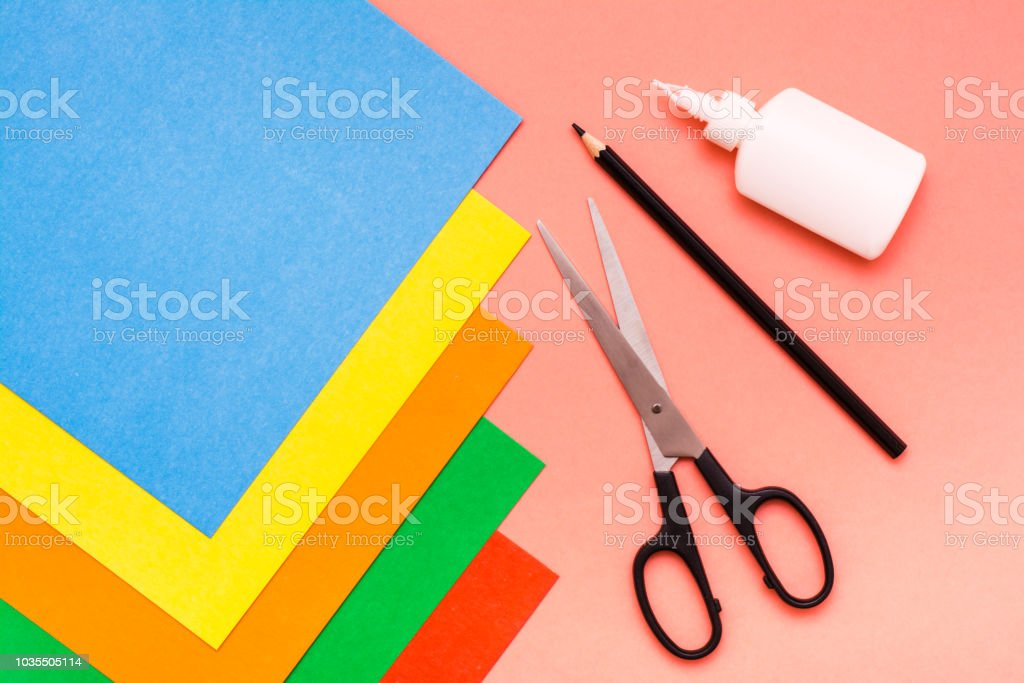 Items For Creativity Sheets Of Colored Cardboard Scissors Pencil And ...