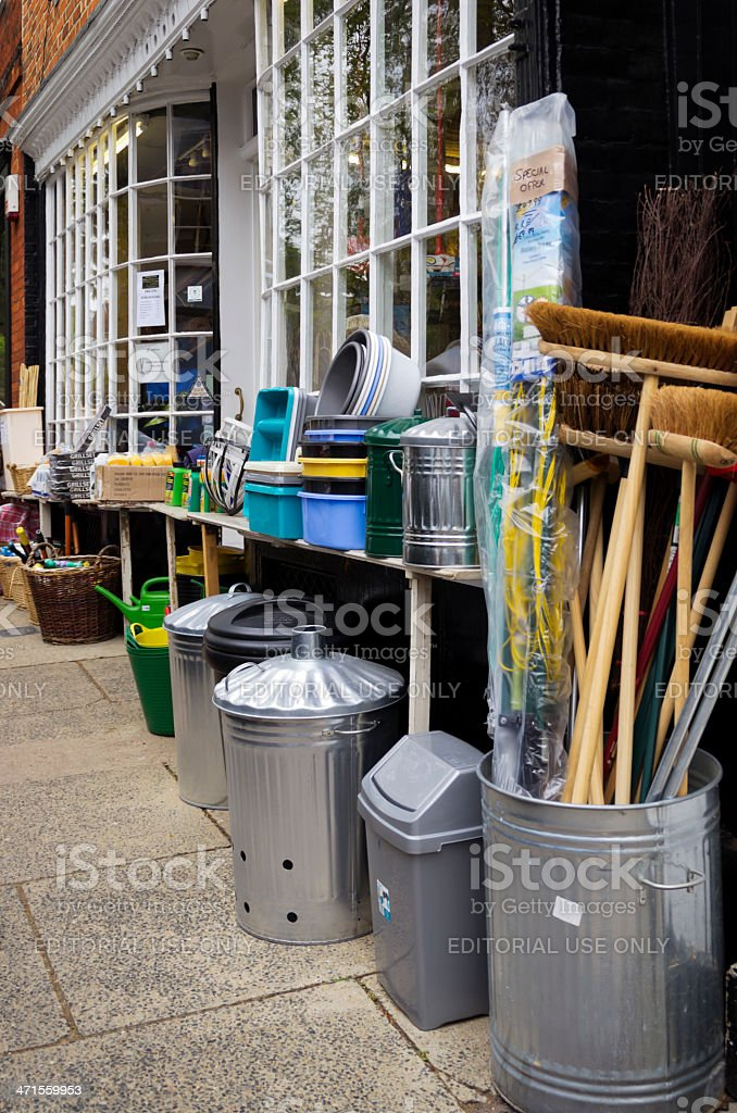 Items for sale outside a hardware shop royalty-free stock photo