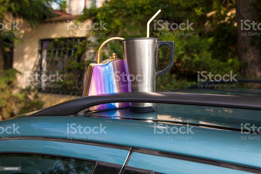 Items left on car roof stock photo