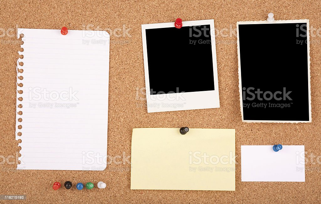 Items on a notice board royalty-free stock photo