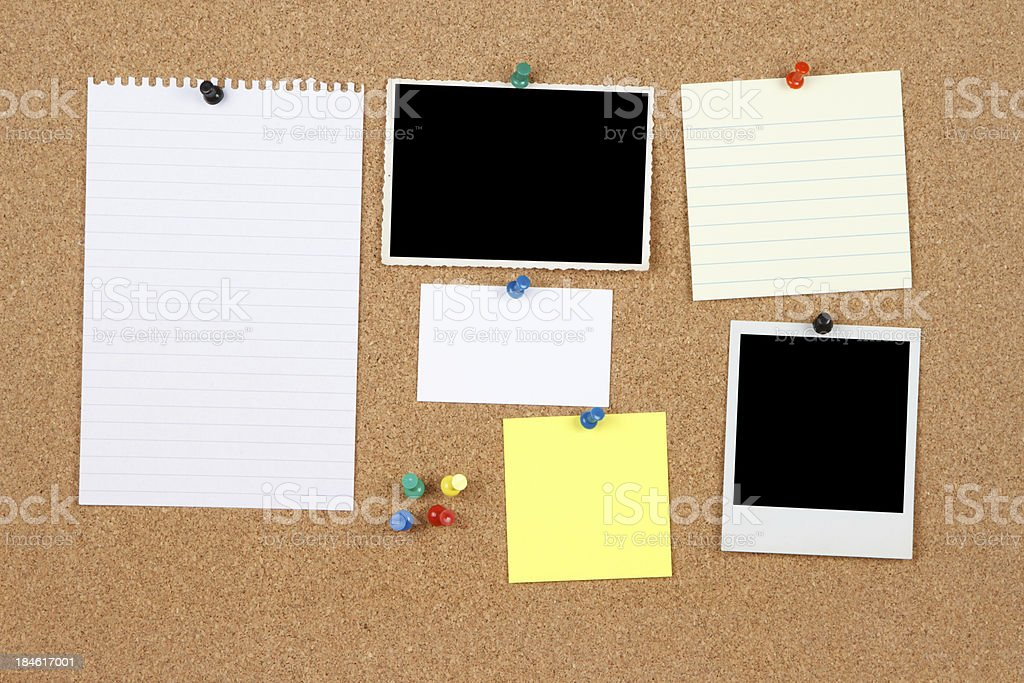 Items on a notice board stock photo