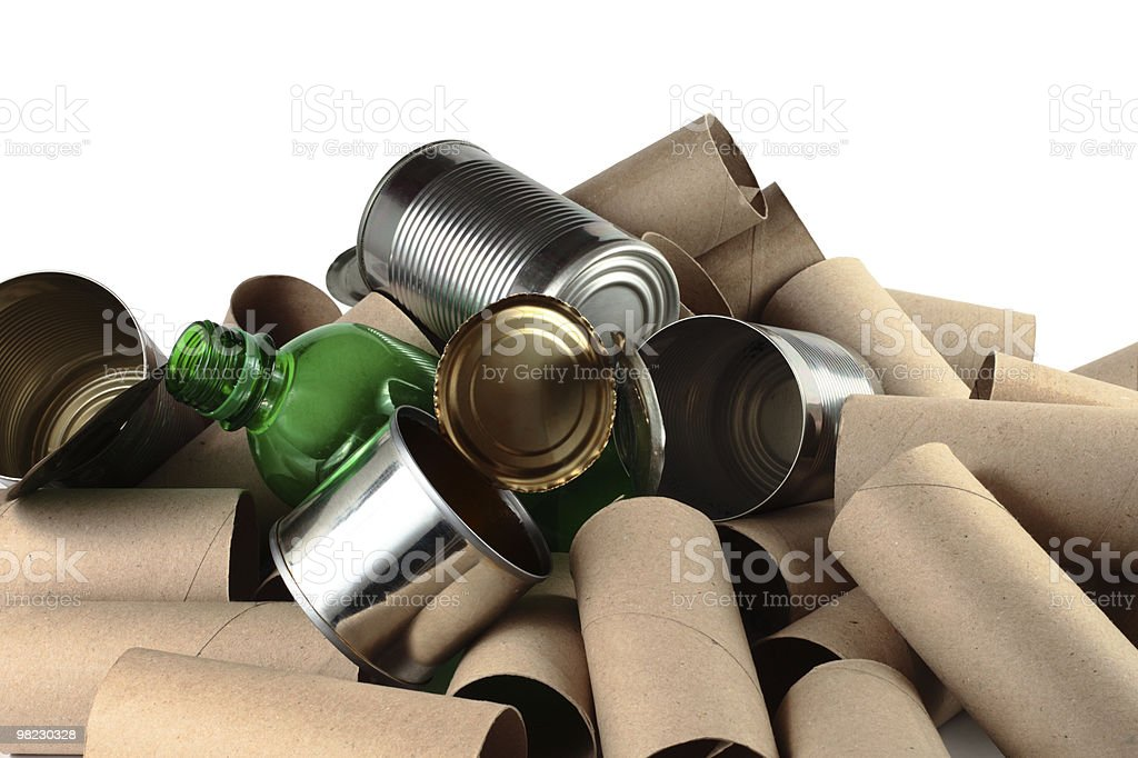 items to recycle tin cardboard plastic royalty-free stock photo