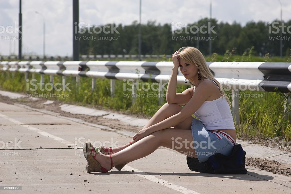 Itenerant attractive woman. royalty-free stock photo