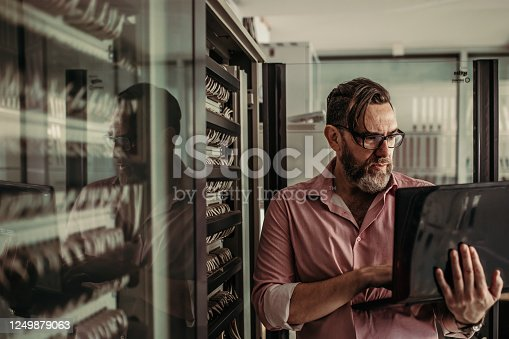 IT worker checking the server