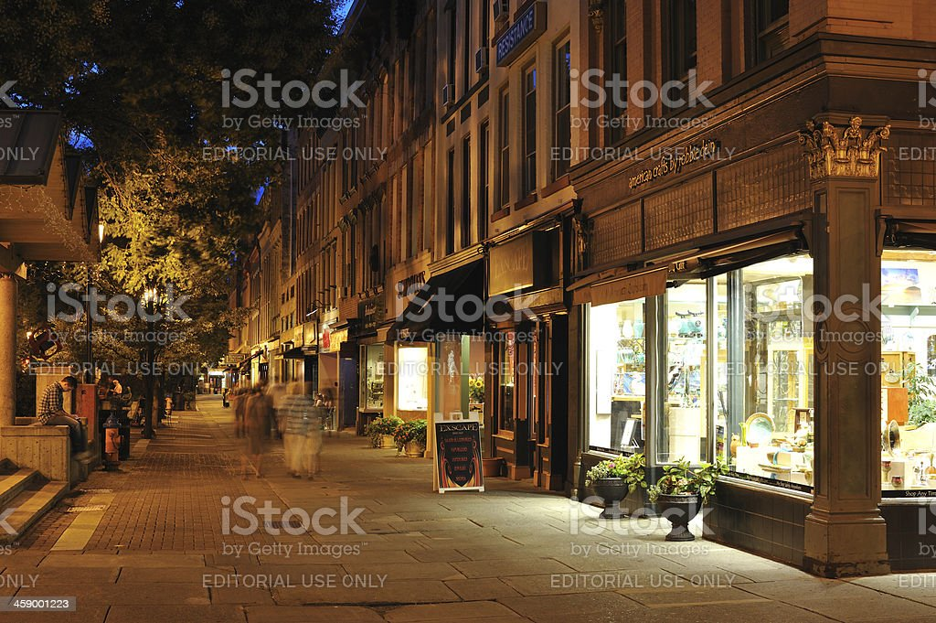 Ithaca Commons at Night stock photo