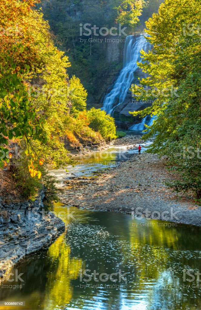 Ithaca Falls and Fall Creek stock photo