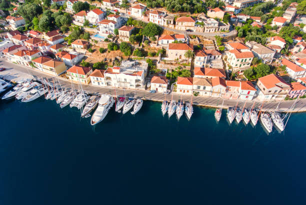 ithaca yachts parking aerial view - cyprus стоковые фото и изображения
