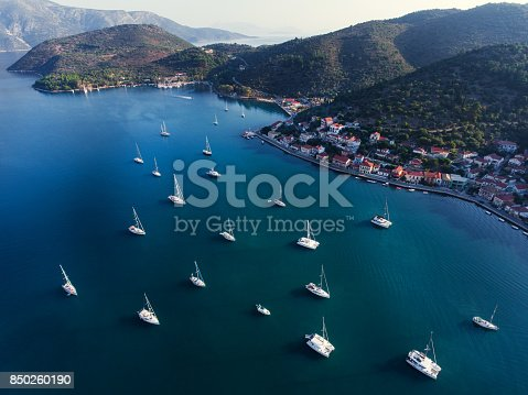istock Ithaca yachts parking aerial view 850260190