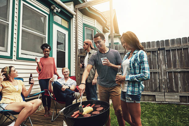 It's a backyard bbq and everyone's invited stock photo