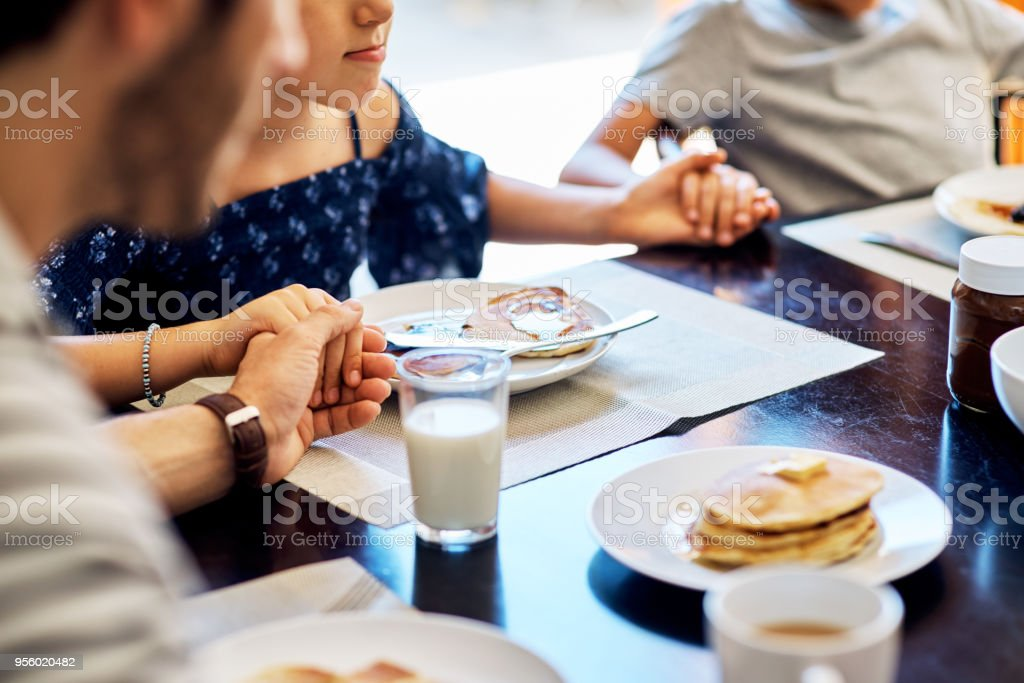 It's a blessing to be able to share this meal together stock photo