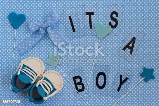 886700726istockphoto It's a boy! Baby announcement. Newborn background 886700726