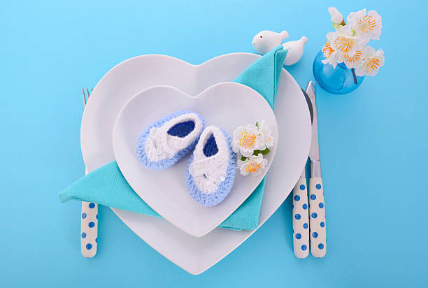 Its a Boy baby shower table place setting stock photo