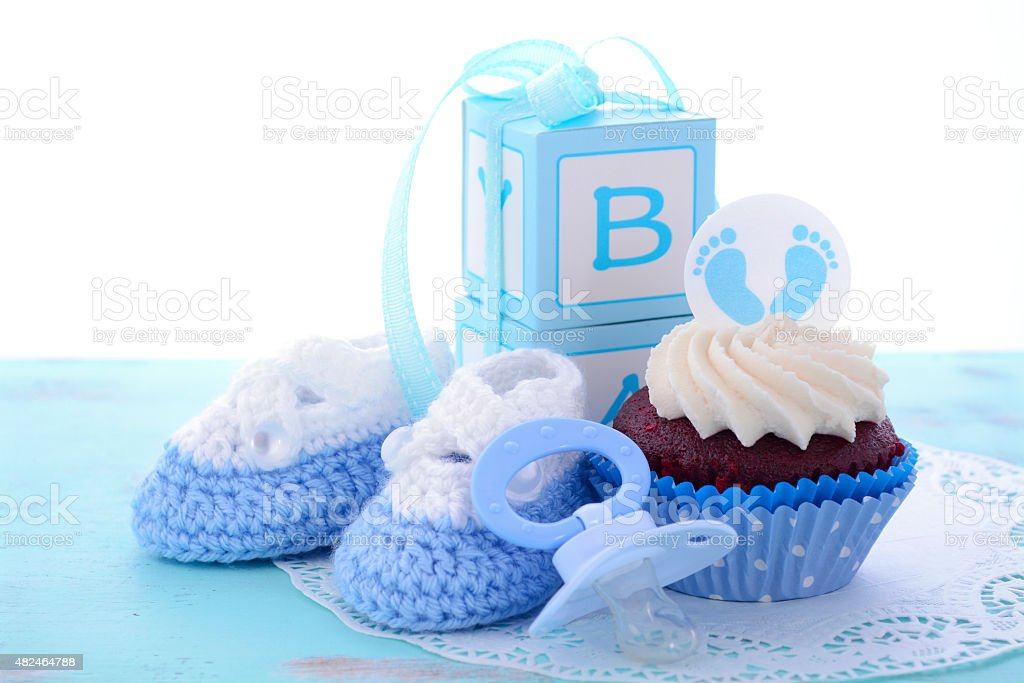 Baby Shower Cupcakes Blue ~ Its a boy blue baby shower cupcakes stock photo more pictures of