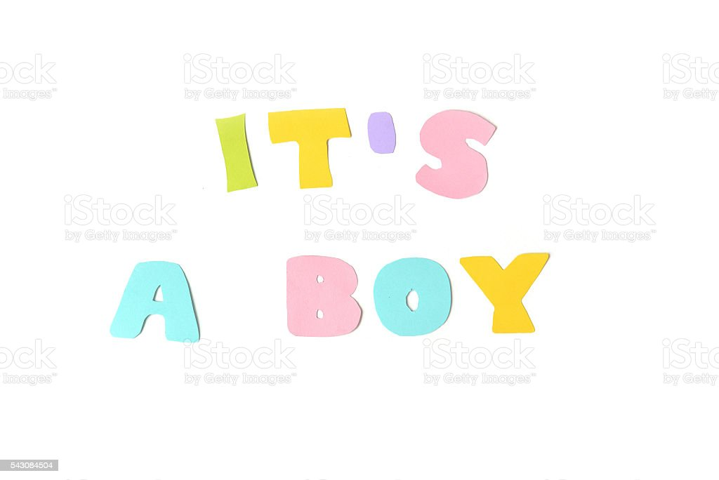 It's a boy text on white background stock photo