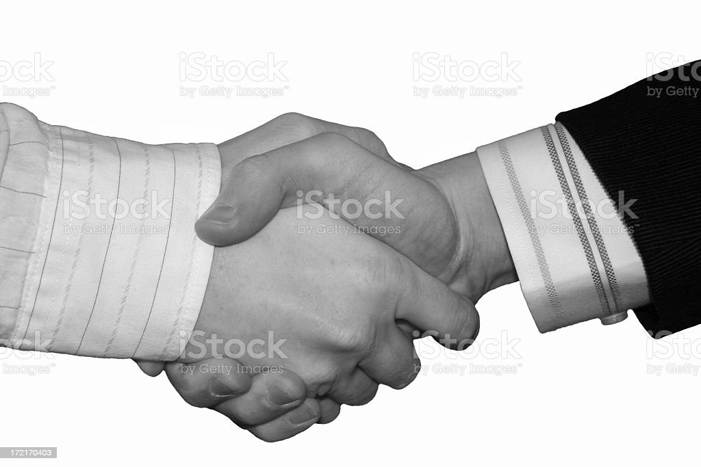 It's a deal (black and white) stock photo