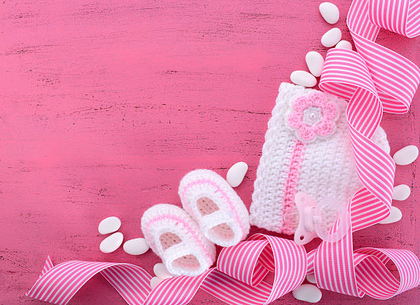 its a girl baby shower or nursery background - its a girl stock photos and pictures