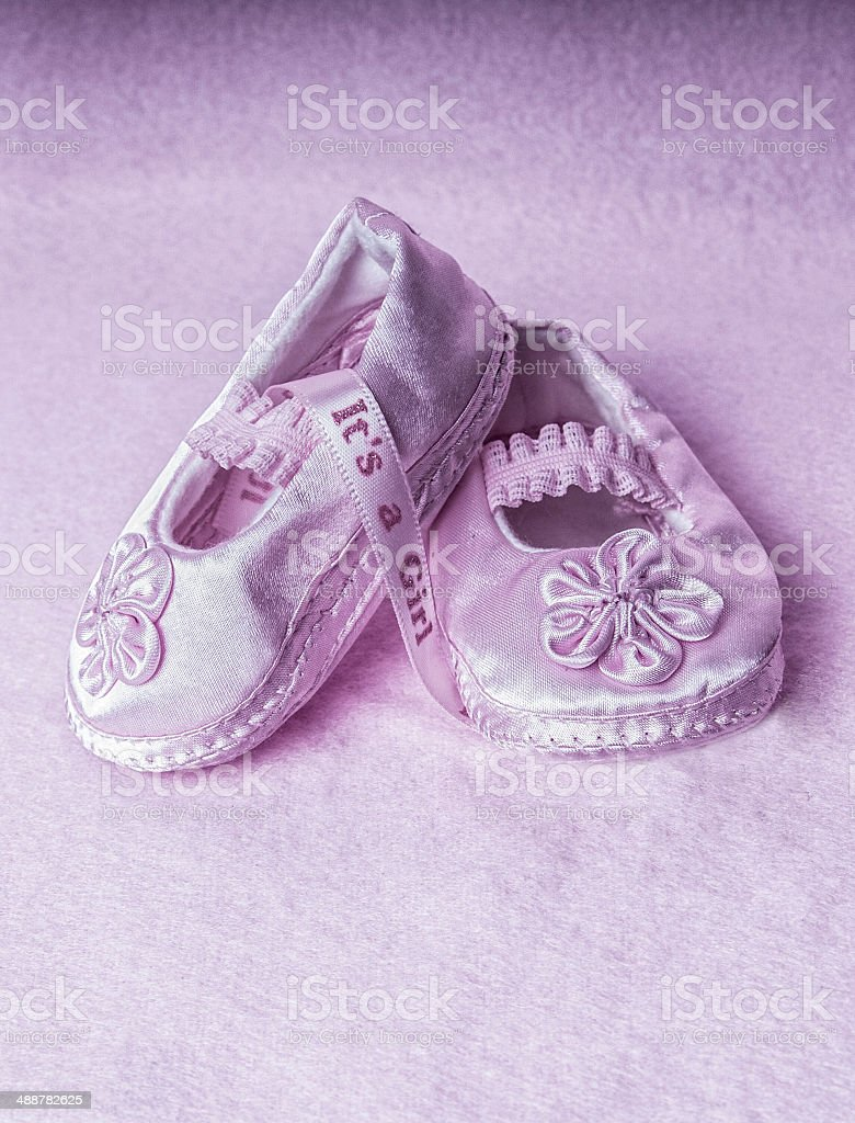 It's A Girl Pink baby shoes royalty-free stock photo