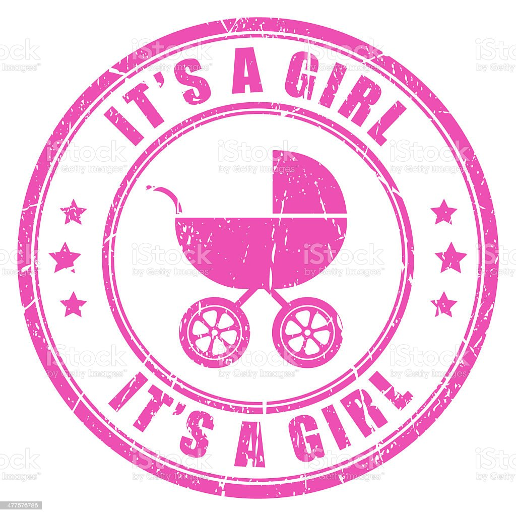 It's a girl stamp stock photo