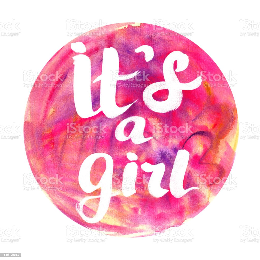 Its a Girl watercolor badge Abstract watercolor round design with lettering stock photo