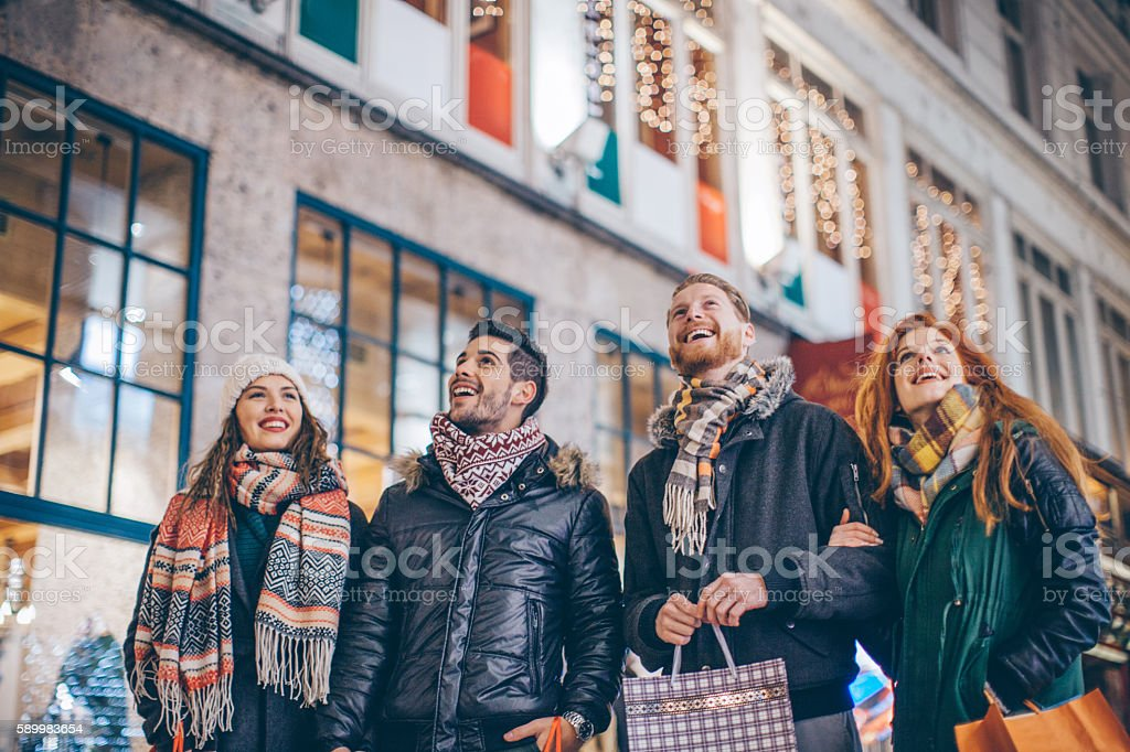 It's all about good friends and good shopping stock photo