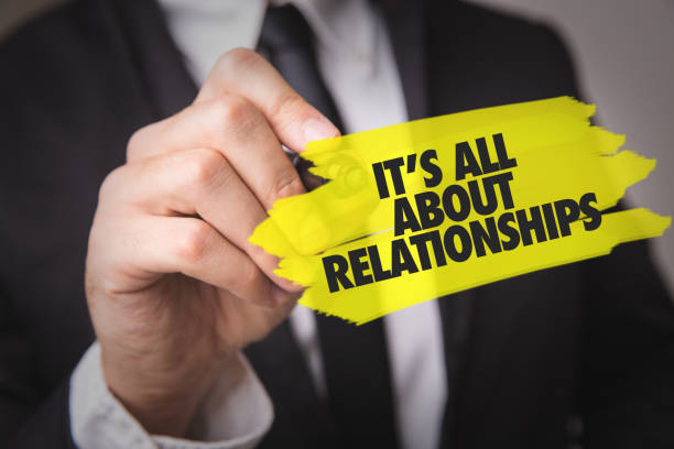 Its All About Relationships Its All About Relationships sign persuasion stock pictures, royalty-free photos & images