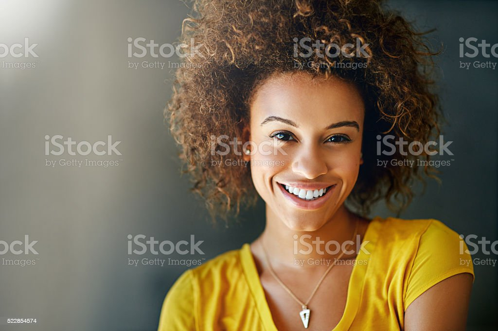 It's all in her smile stock photo