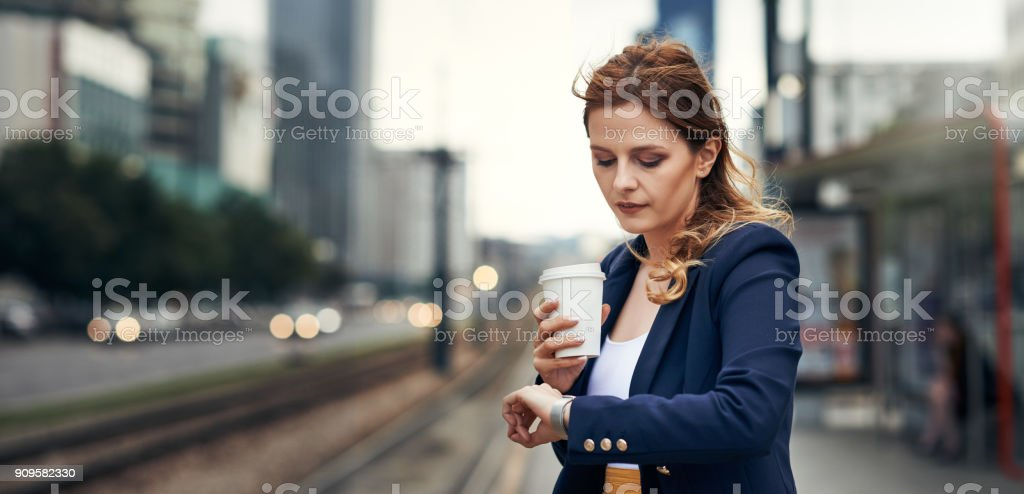 It's almost time for the train to arrive stock photo