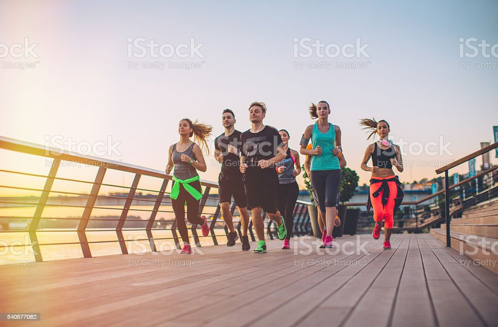 It's always better exercising in a group stock photo