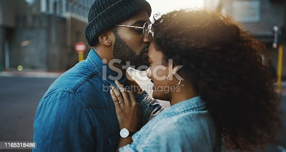 Shot of a young couple sharing a romantic moment in the city