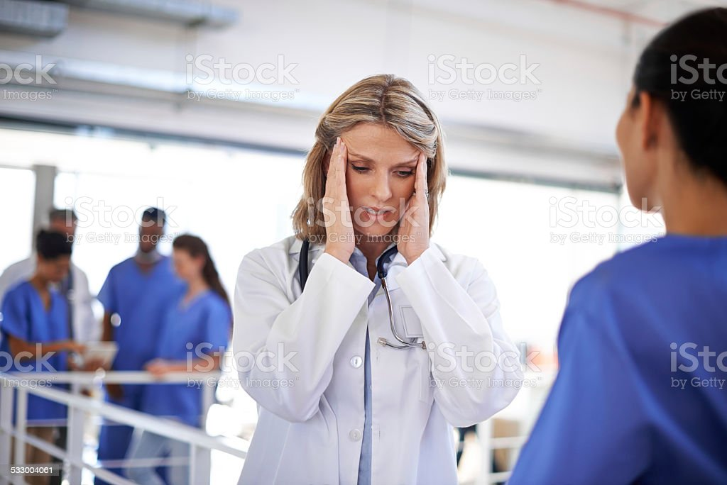 It's been a long day at the hospital stock photo