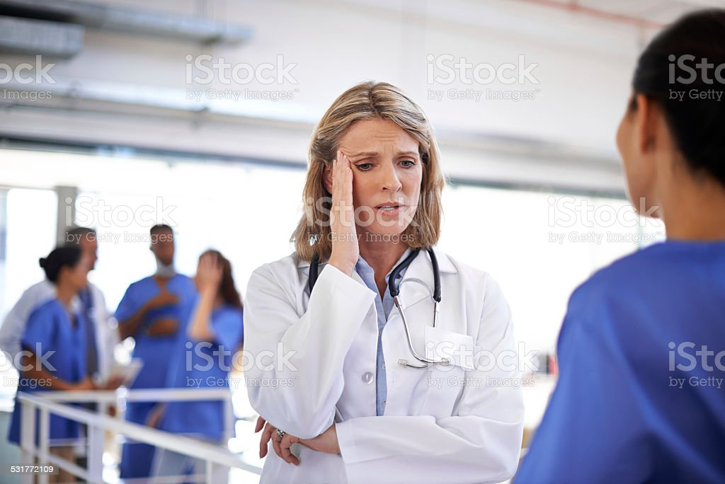 It's been a long shift at the hospital stock photo