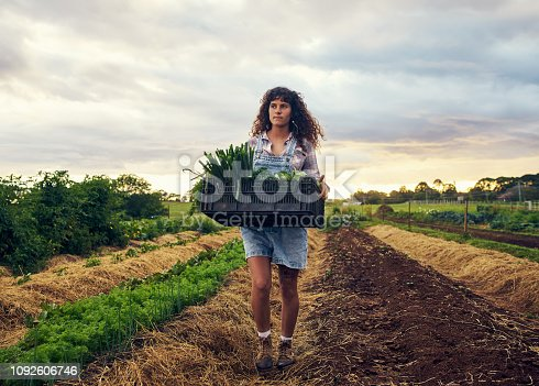 Shot of a young woman carrying a crate of fresh produce on a farm