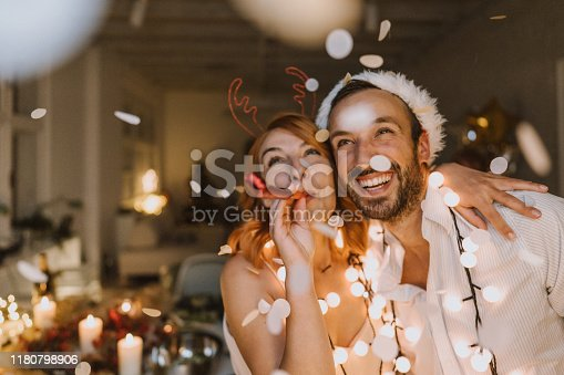 Photo of young couple on New Year's Eve