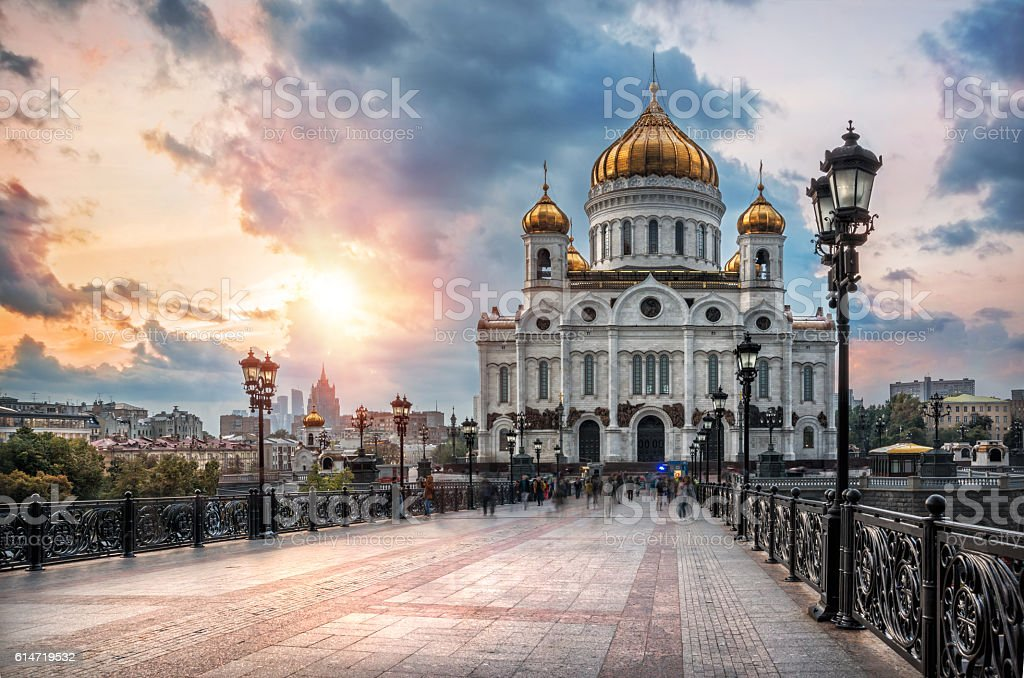 It`s crowded at the Cathedral of Christ the Savior stock photo