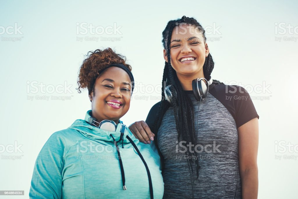 It's easier when you have someone to workout with royalty-free stock photo