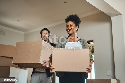 Cropped shot of an affectionate young couple smiling while carrying boxes into their new home