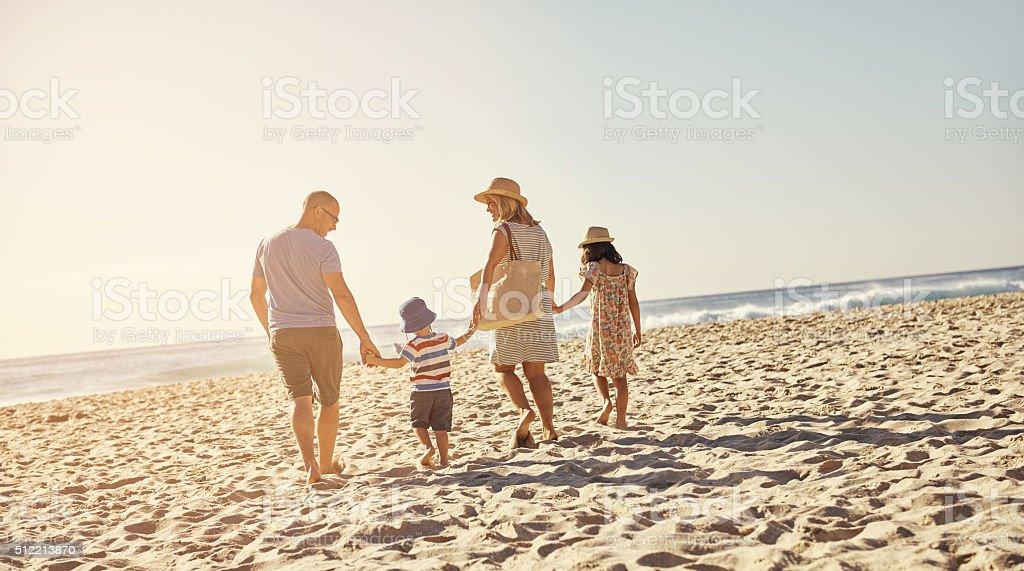 It's family beach day stock photo