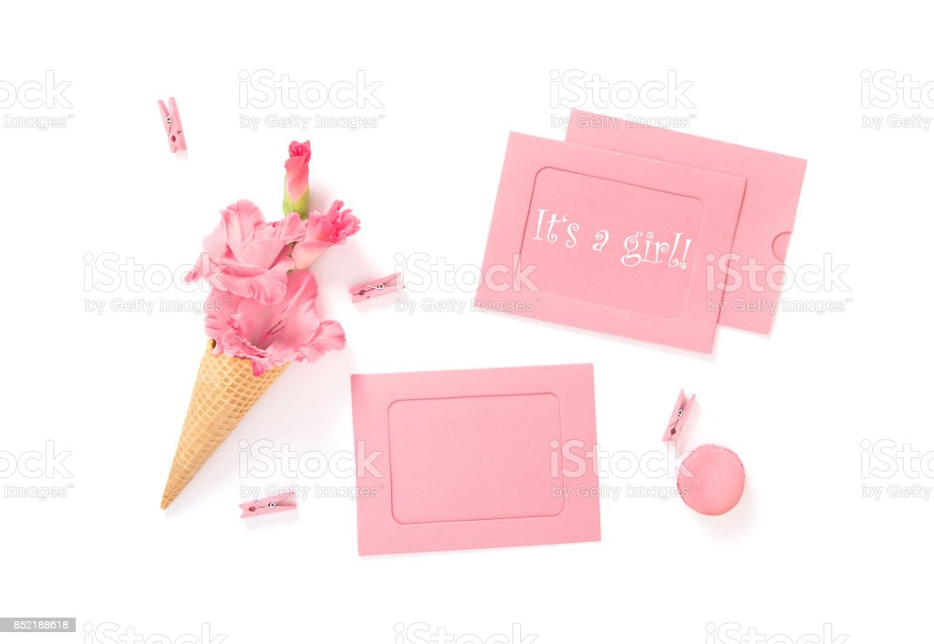 Its Girl Pink cards flowers Birthday Baby shower flat lay stock photo