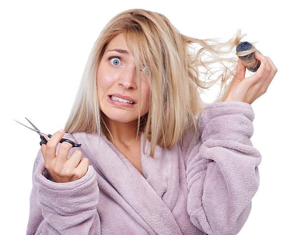 ich an einem schlechten haar-tag! - cut wrong hair stock-fotos und bilder