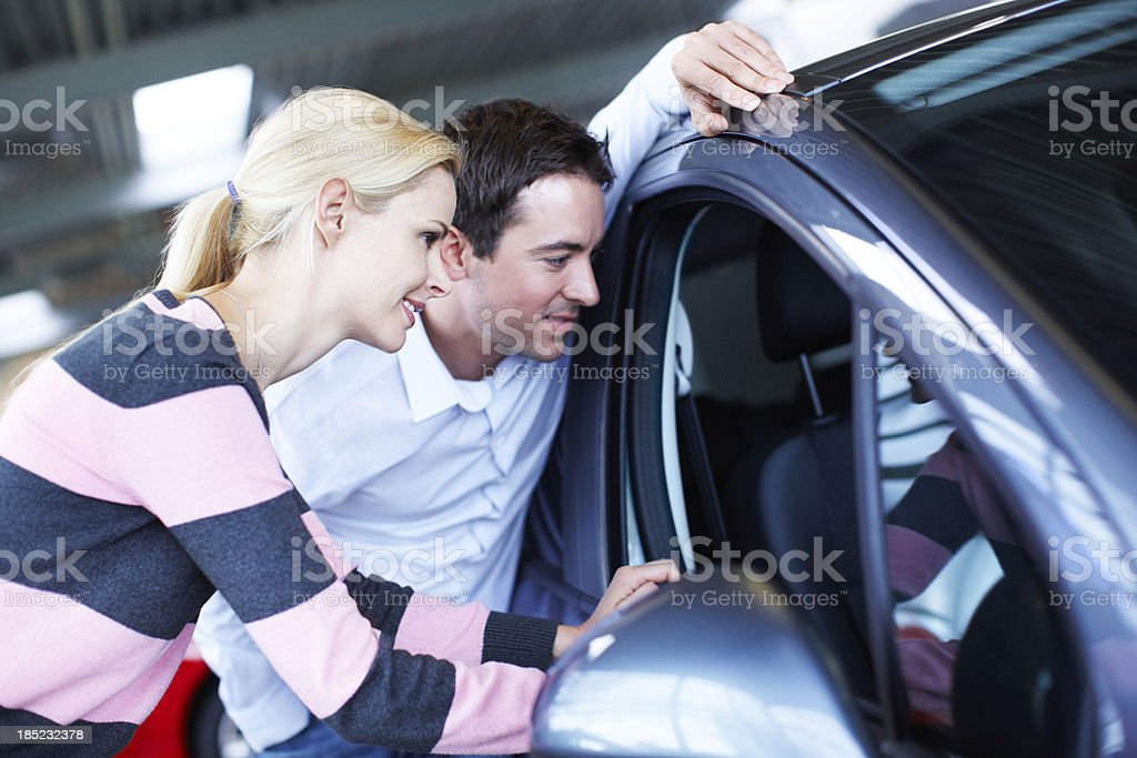 It's got those leather seats you've been looking for royalty-free stock photo