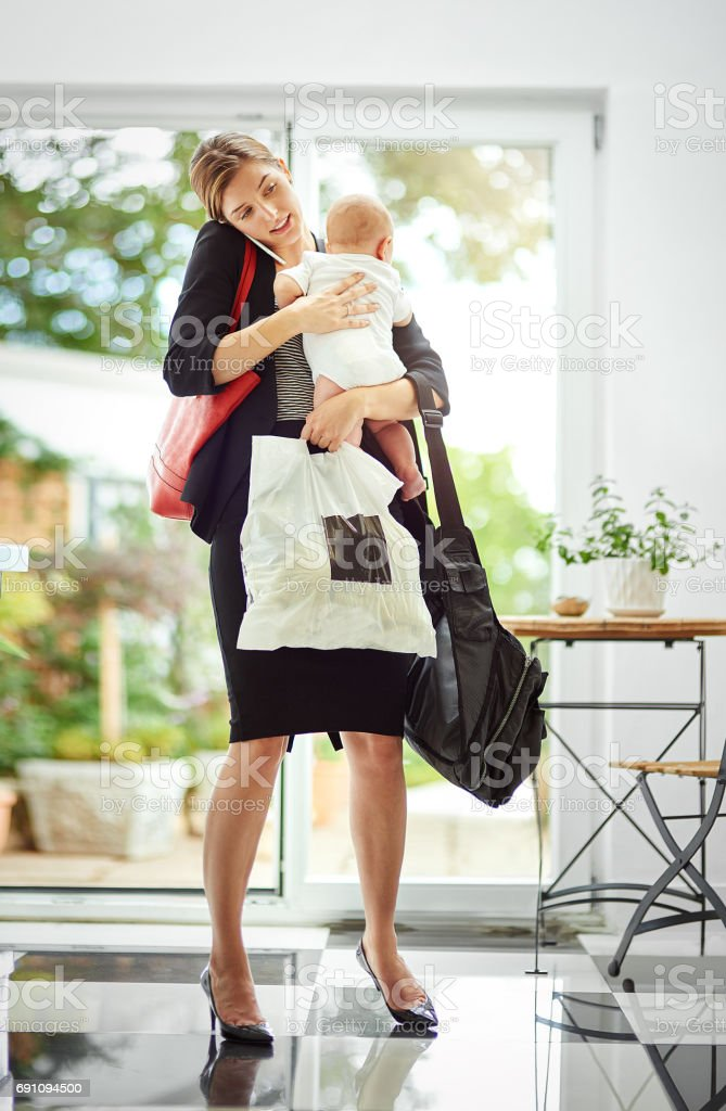 It's hard being a working mom! stock photo