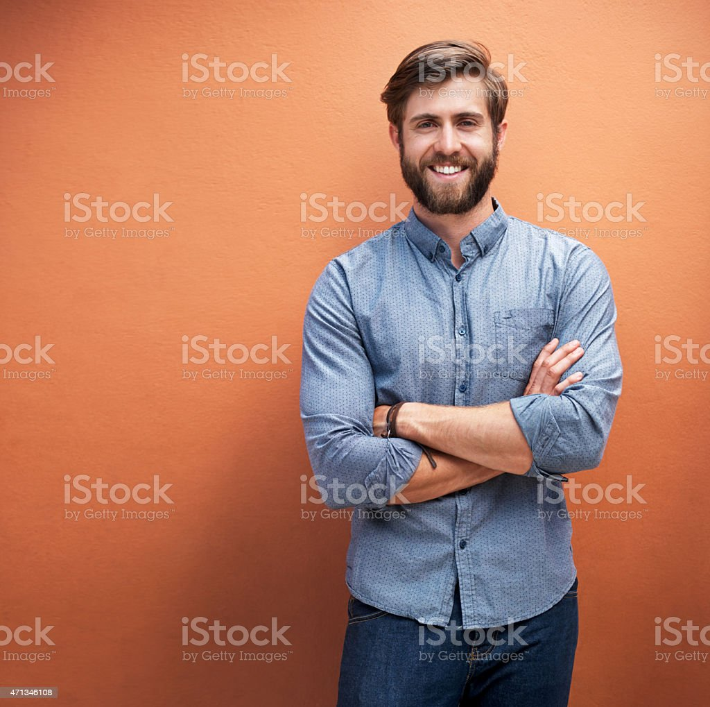 It's hip to be happy stock photo