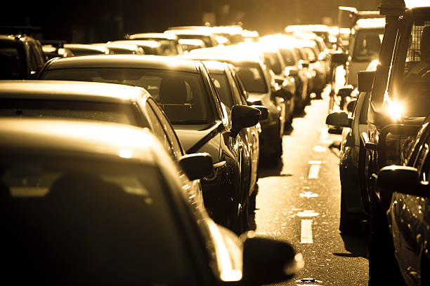 it's hot in a sydney summer rush hour traffic jam - heat haze stock pictures, royalty-free photos & images