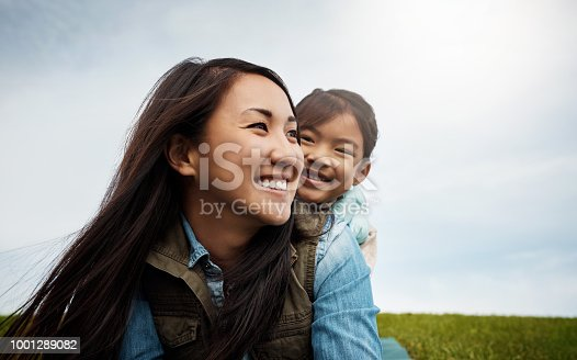 Shot of a mother bonding with her little daughter outdoors