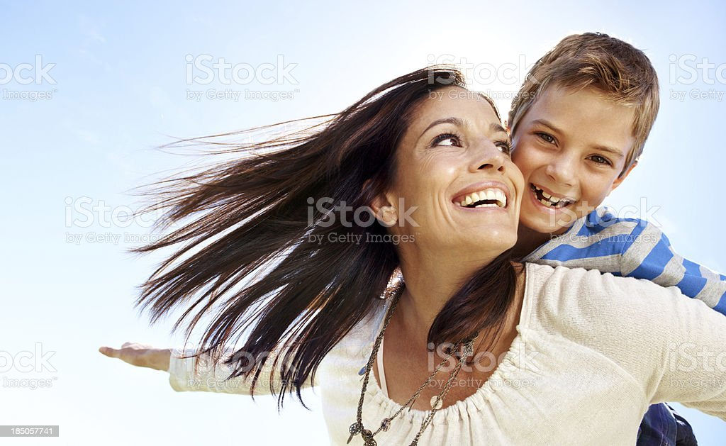 It's my mom's love that make me smile stock photo