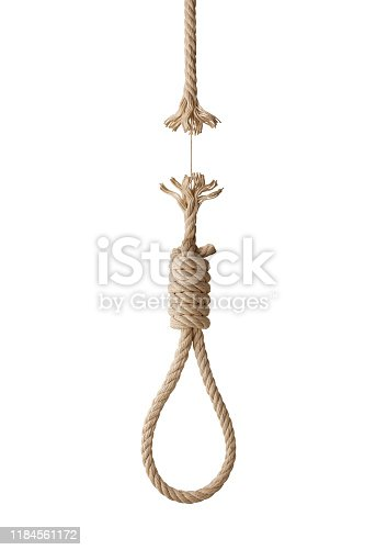 Noose about to break on white background.