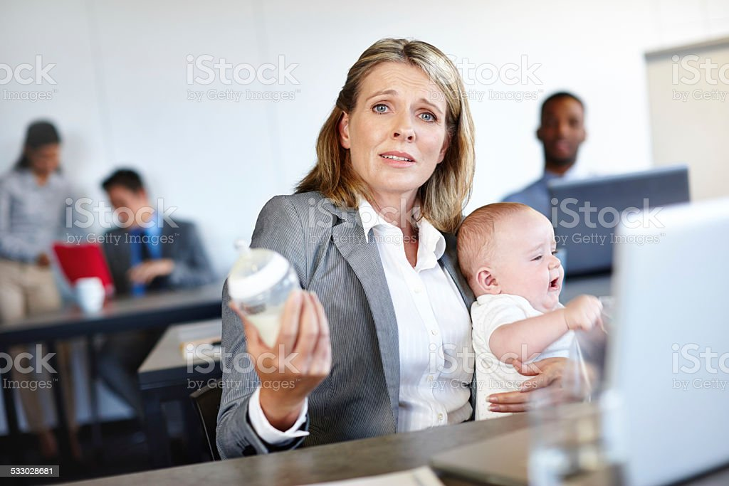 It's not easy juggling two jobs stock photo