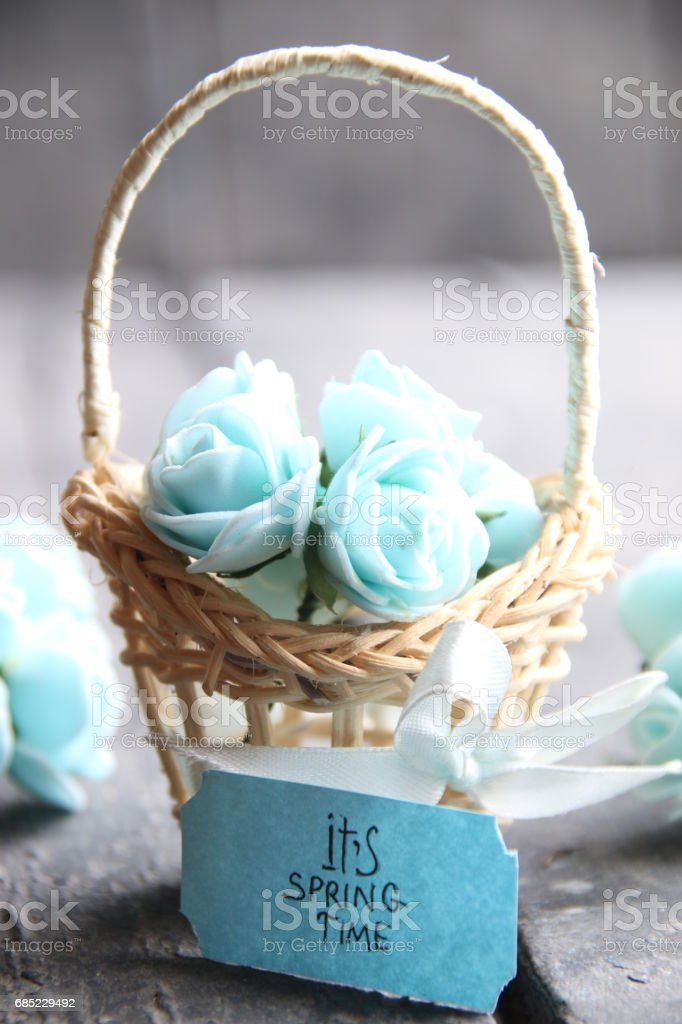 Its spring Time concept, spring flowers in a small basket royalty-free stock photo