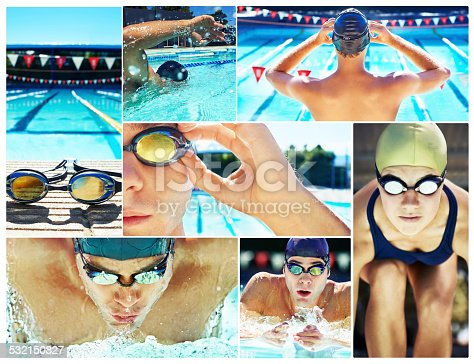 Composite shot of professional swimmers